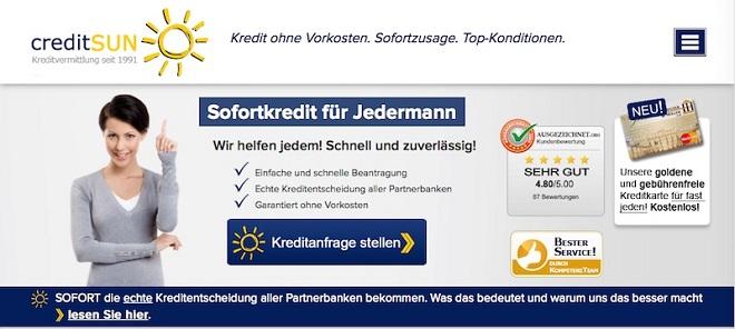 Die Webseite von creditSUN