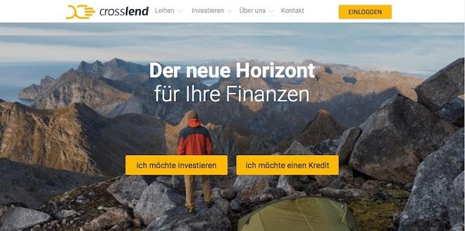 Die Webseite von CrossLend
