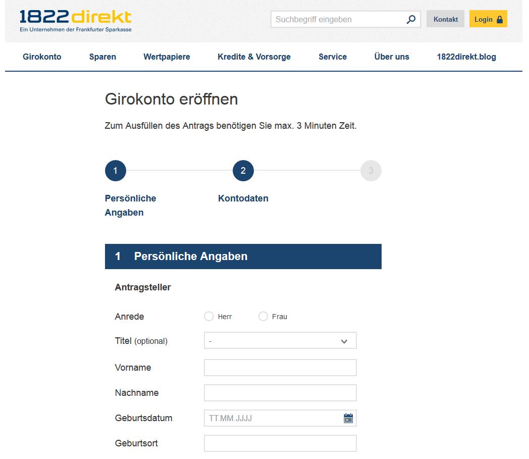 Das Online-Formular bei 1822direkt