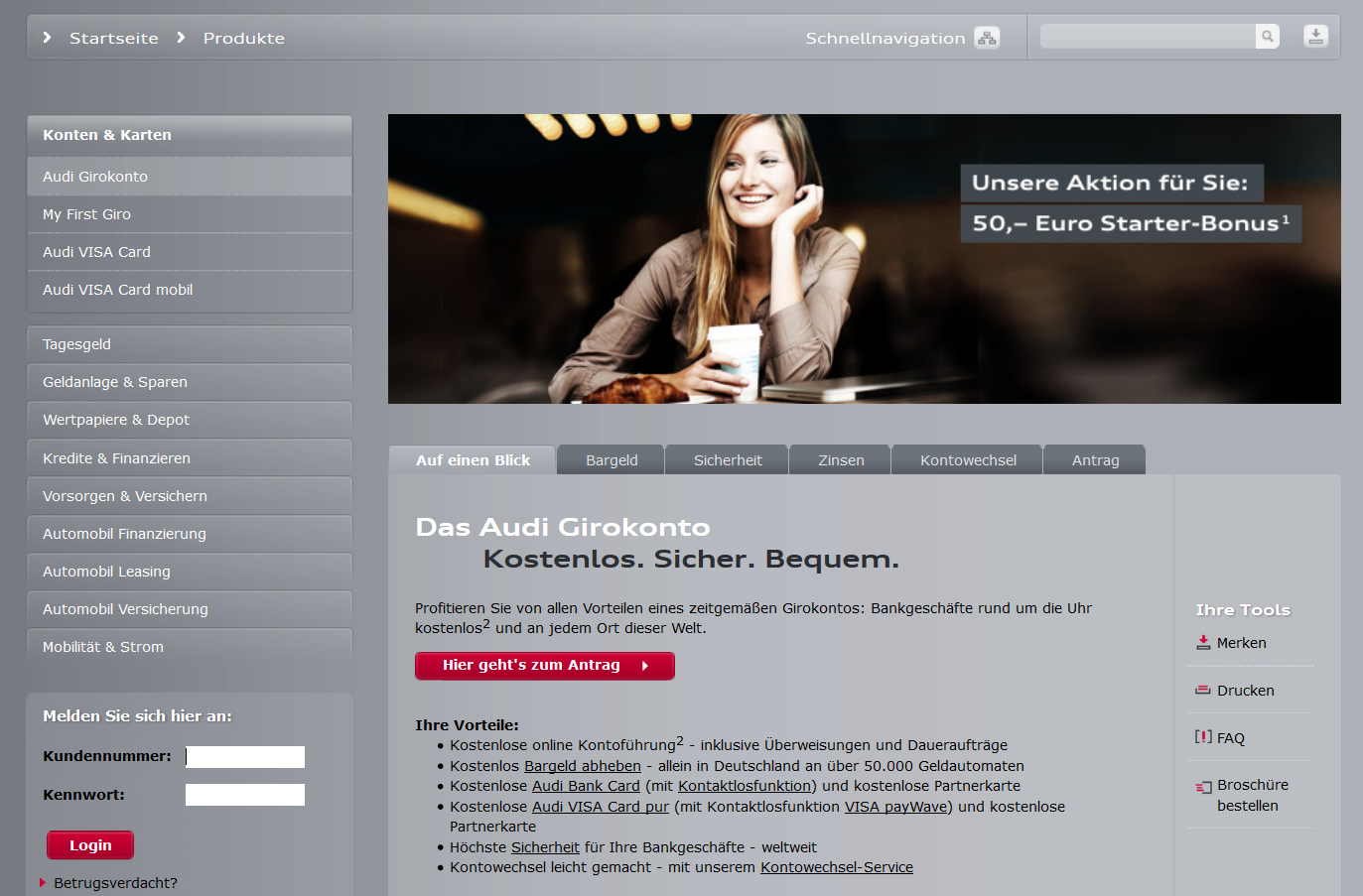 Das Audi Bank Girokonto im Überblick