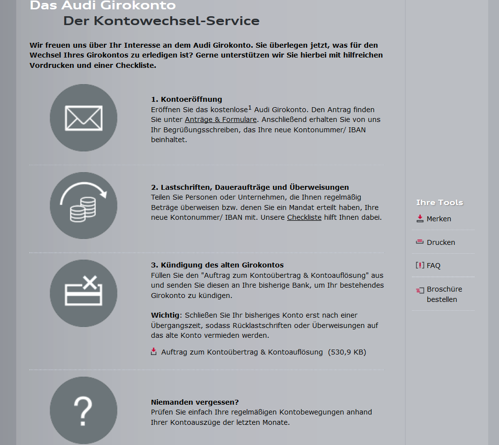 Informationen zum Kontowechselservice
