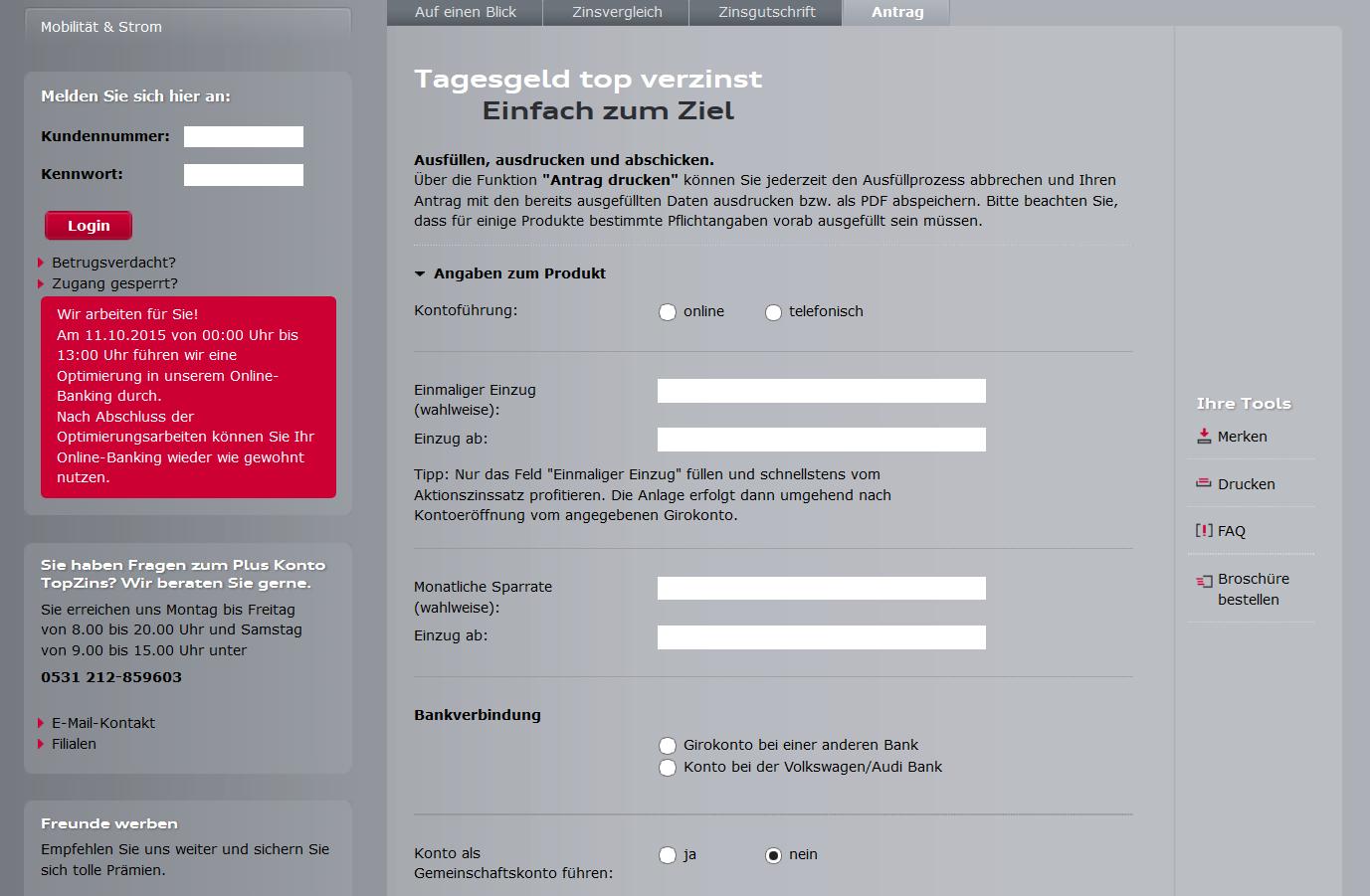 Das Online-Formular für die Kontoeröffnung