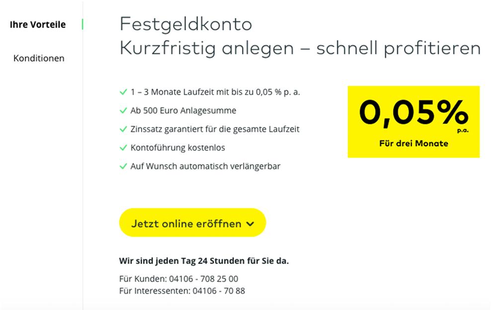 Festgeldkonto von Comdirect