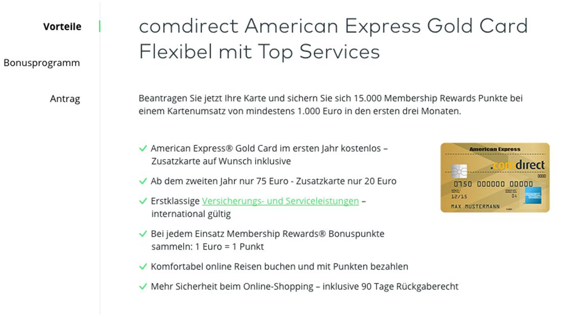 Informationen zur American Express Card bei Comdirect