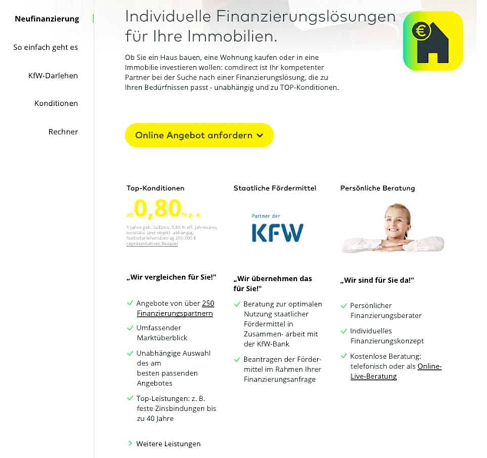 Die Neufinanzierung bei Comdirect