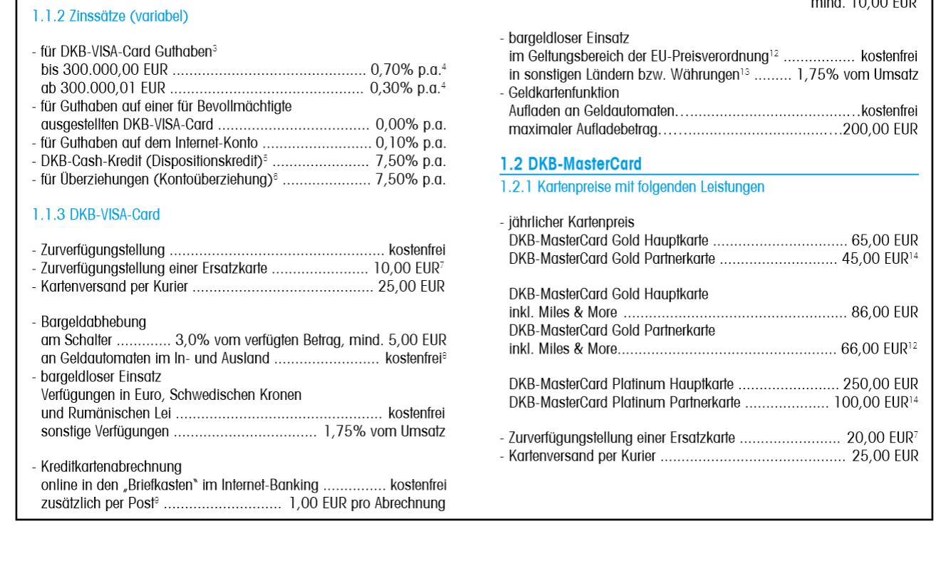 Informationen aus dem Preis- und Leistungsverzeichnis