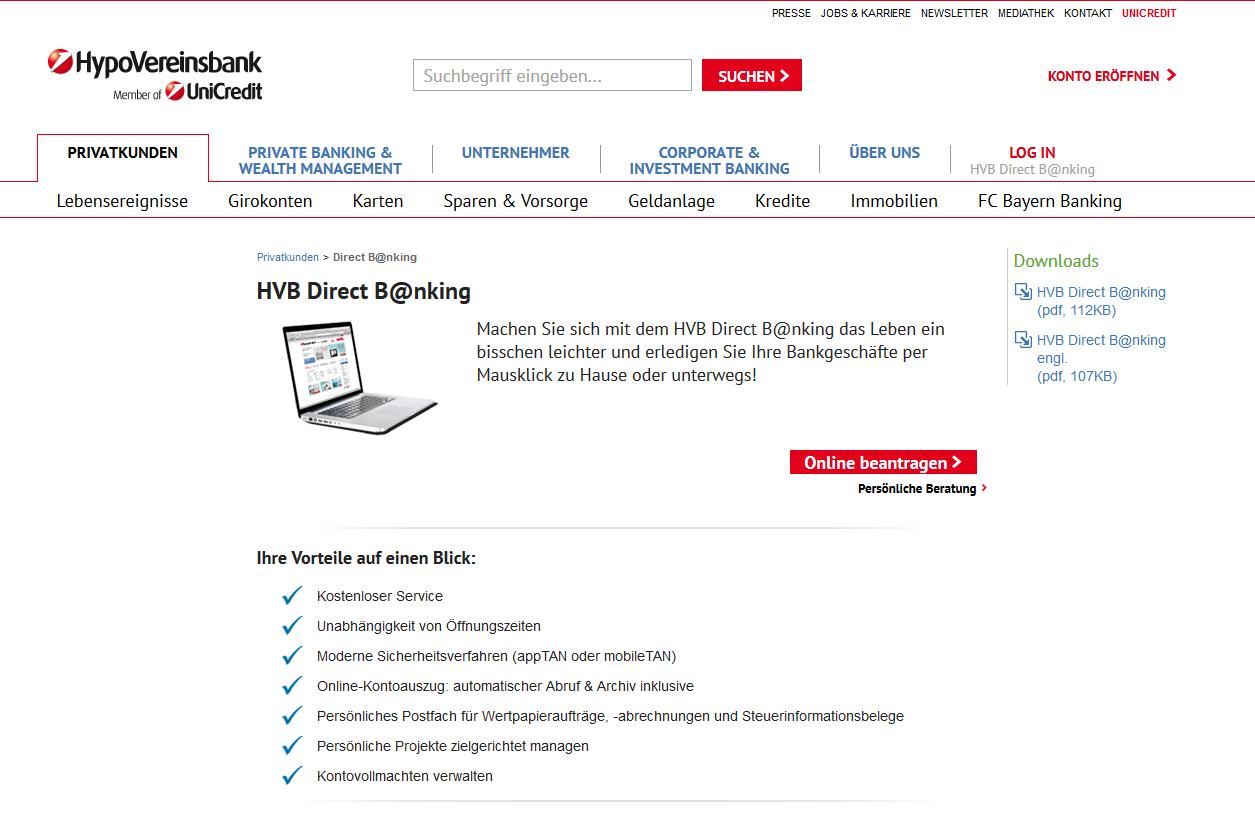Online Banking über HVB Direct B@nking im Überblick