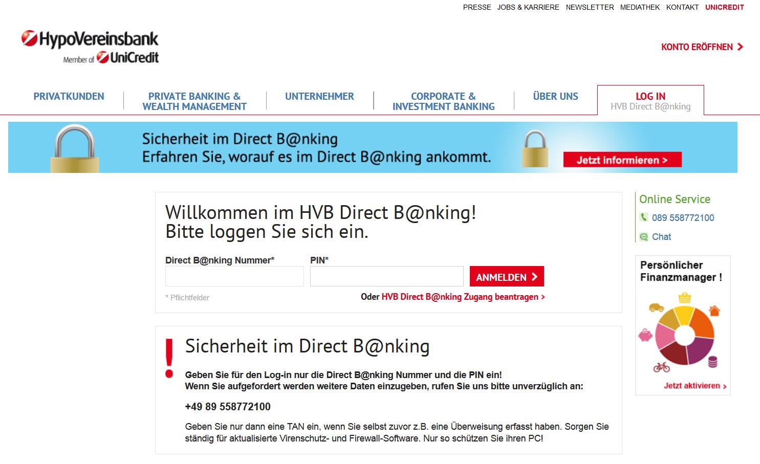 Der Login-Bildschirm für Direct B@nking