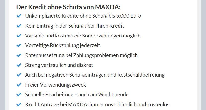 Der Maxda Kredit im Überblick