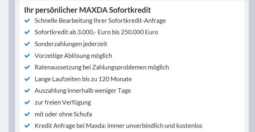 Der Maxda Sofortkredit im Überblick