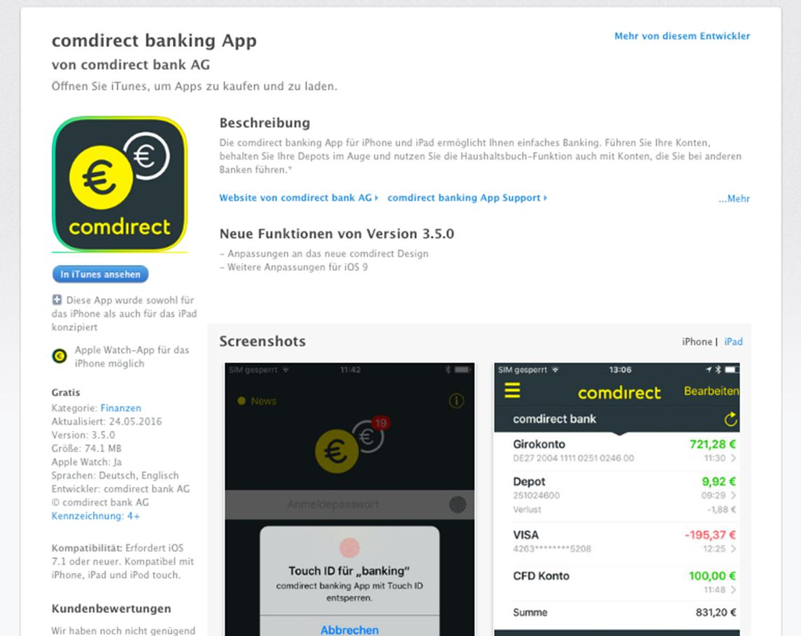 Die banking App von Comdirect