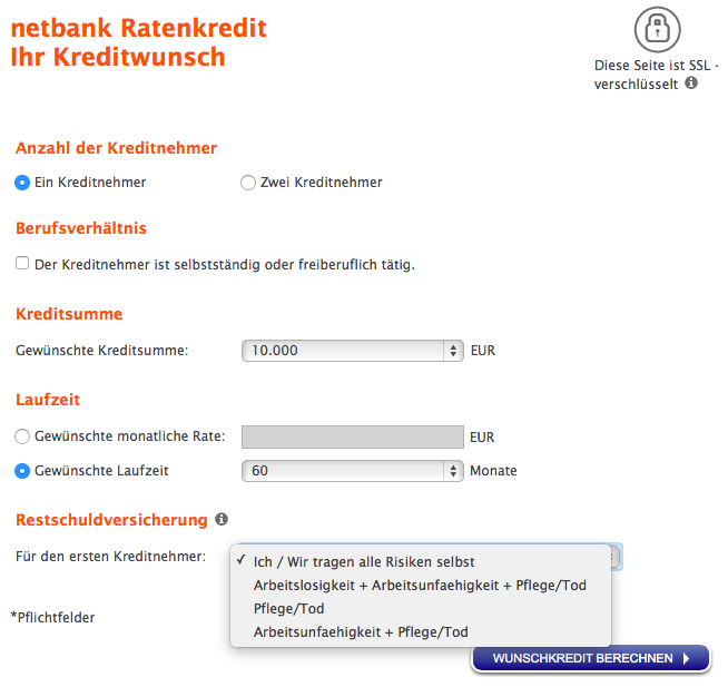 Antrag Netbank Kredit