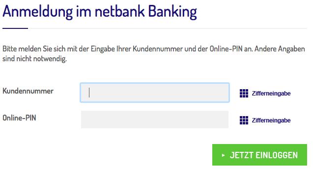 Anmeldung Online Banking Netbank