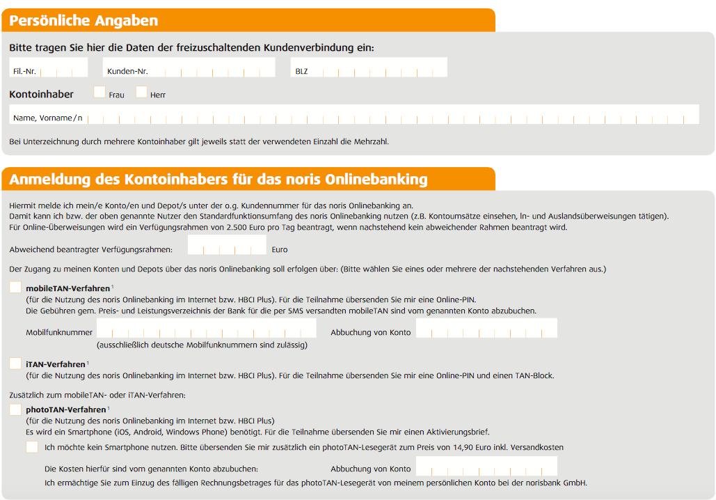 Online-Formular Telefonbanking Norisbank