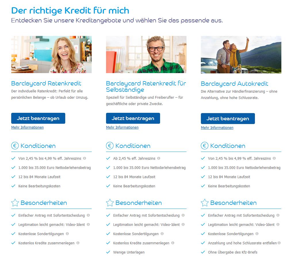 Kredite bei Barclaycard