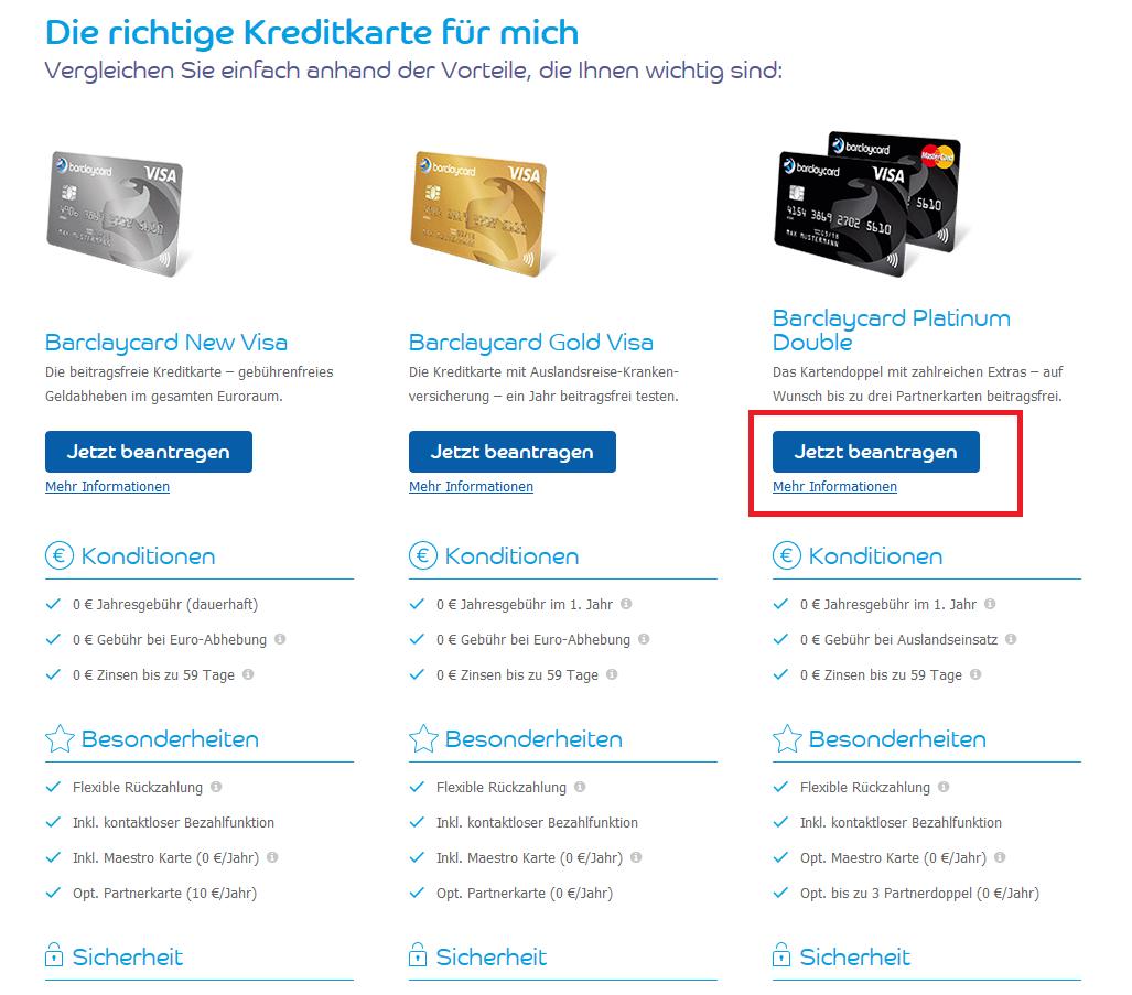 Die Kreditkarten bei Barclaycard im Überblick