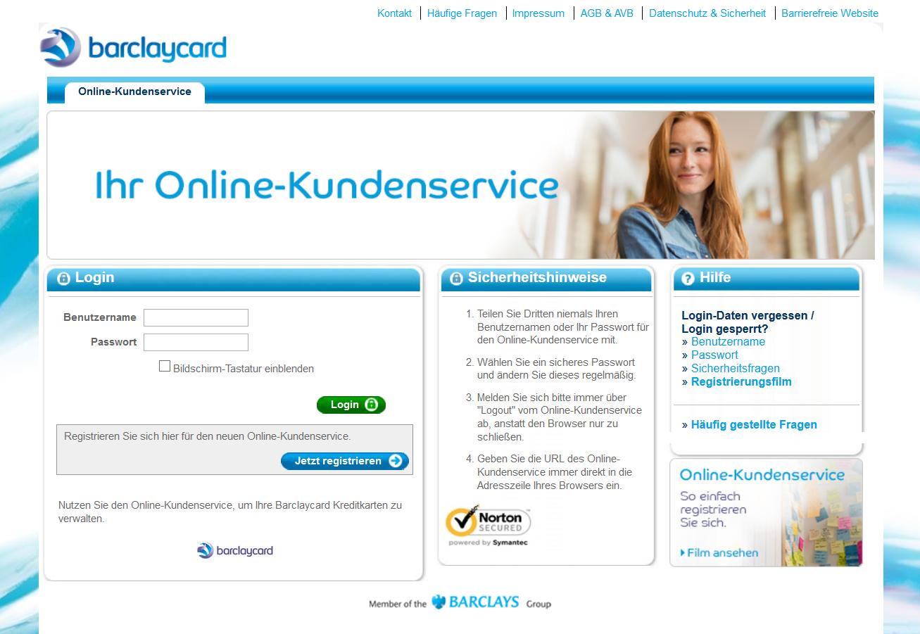 Der Login-Bildschirm des Online-Kundenservices