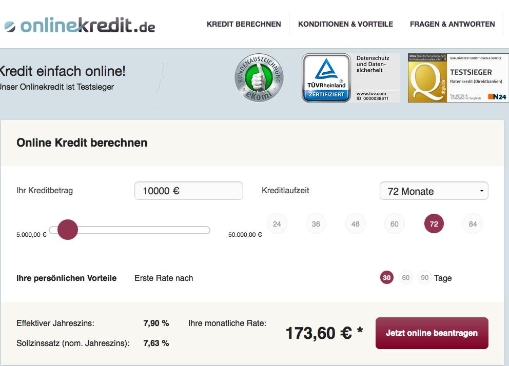 Onlinekredit.de kreditrechner