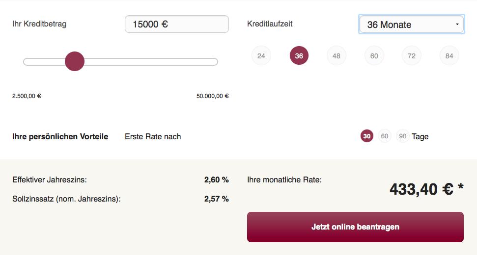 Kredit-Rechner Onlinekredit.de