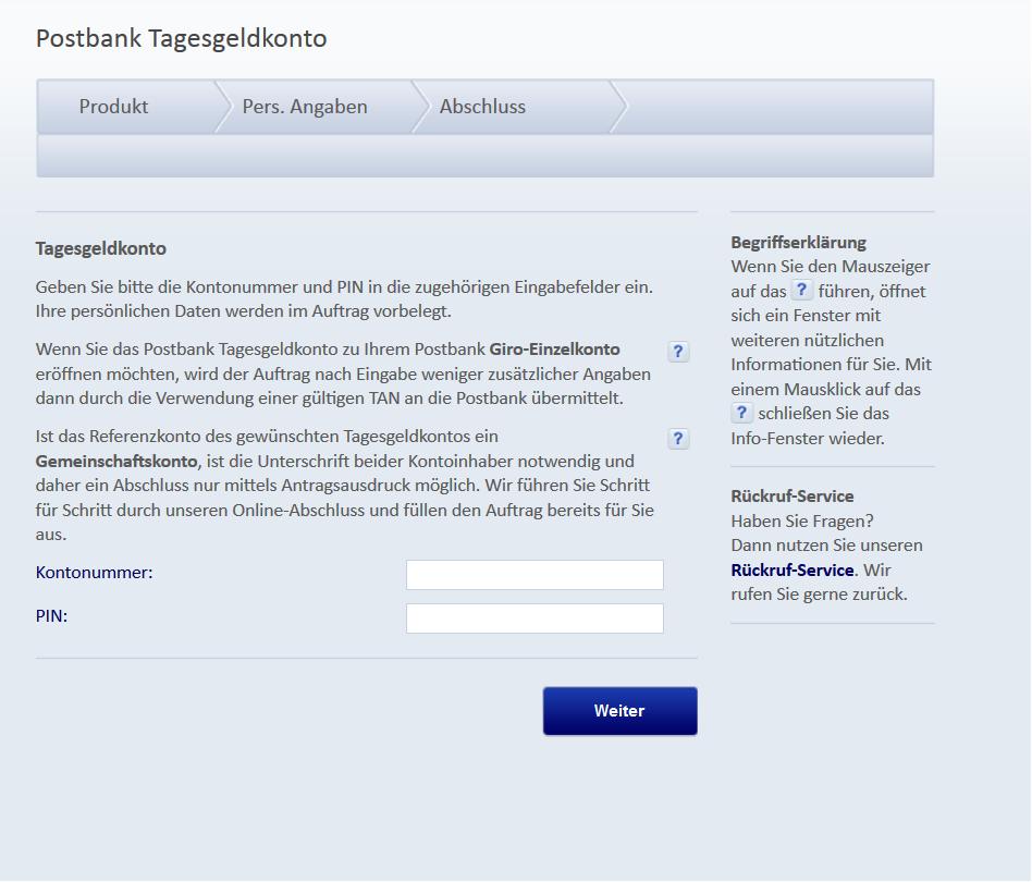 Die Online-Eröffnung des Postbank Tagesgeldkontos