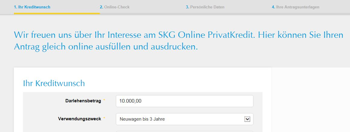 Das Online-Formular des SKG Privatkredits