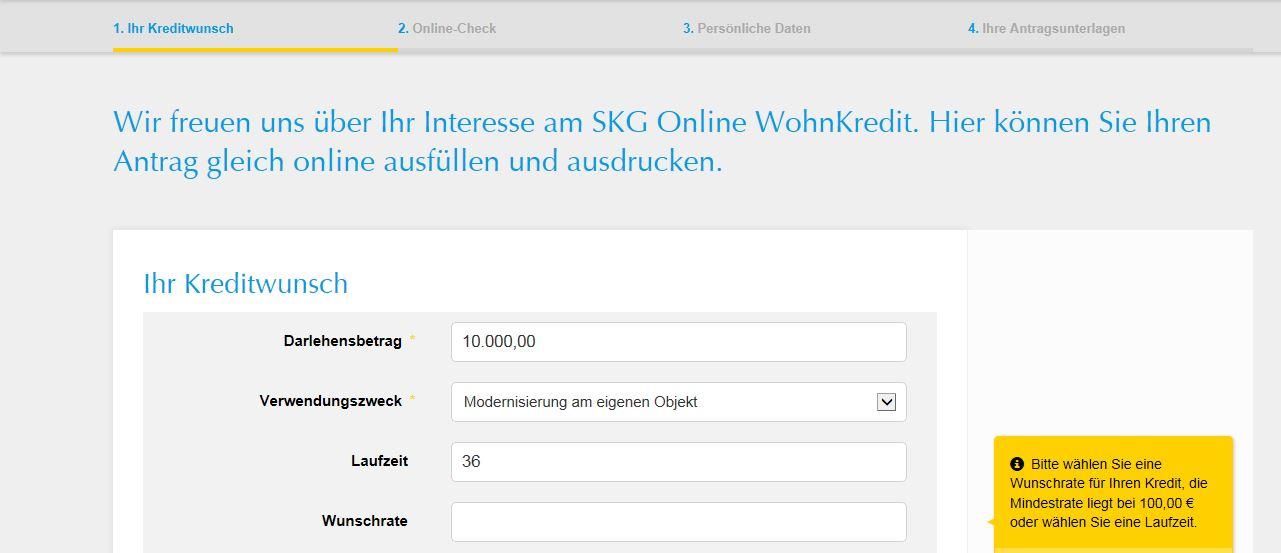 Das Online-Formular als erste Kreditanfrage