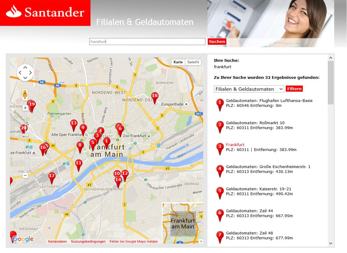 Die Filialsuche der Santander Bank