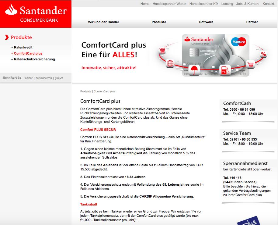 Santander Comfort Card