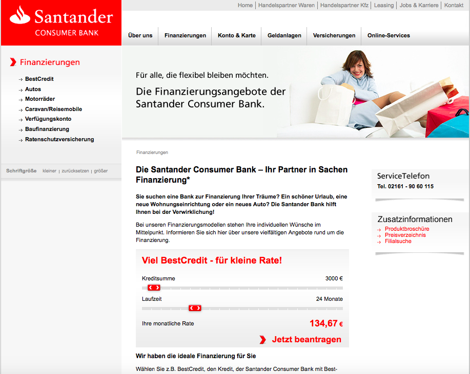 santander consumer bank finanzierung berblick. Black Bedroom Furniture Sets. Home Design Ideas