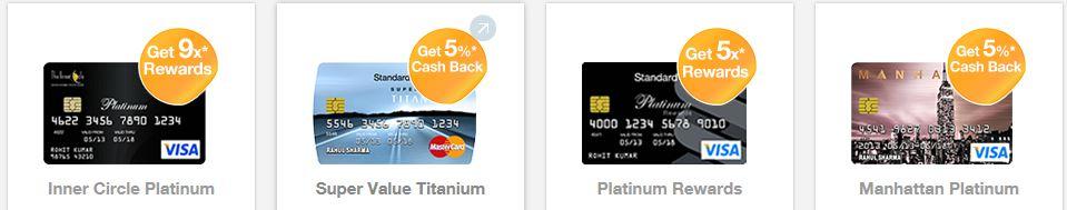 Vier Kreditkarten auf einen Blick