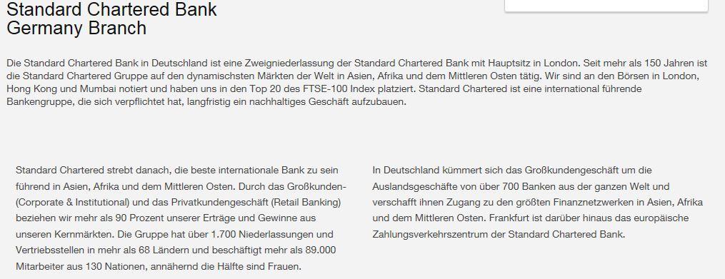 Die Standard Chartered in Deutschland