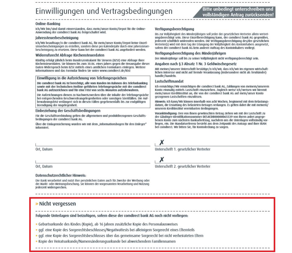 Informationen zu den benötigten Dokumenten aus dem Antrag