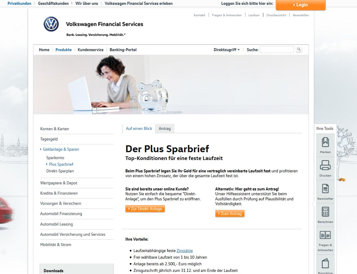 Die Vorteile des VW Bank Sparbriefs im Überblick