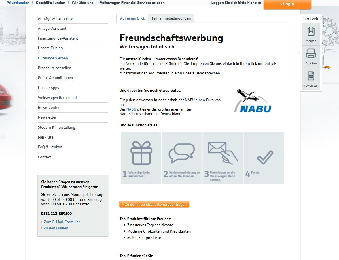 Werbeboni bei der VW Bank