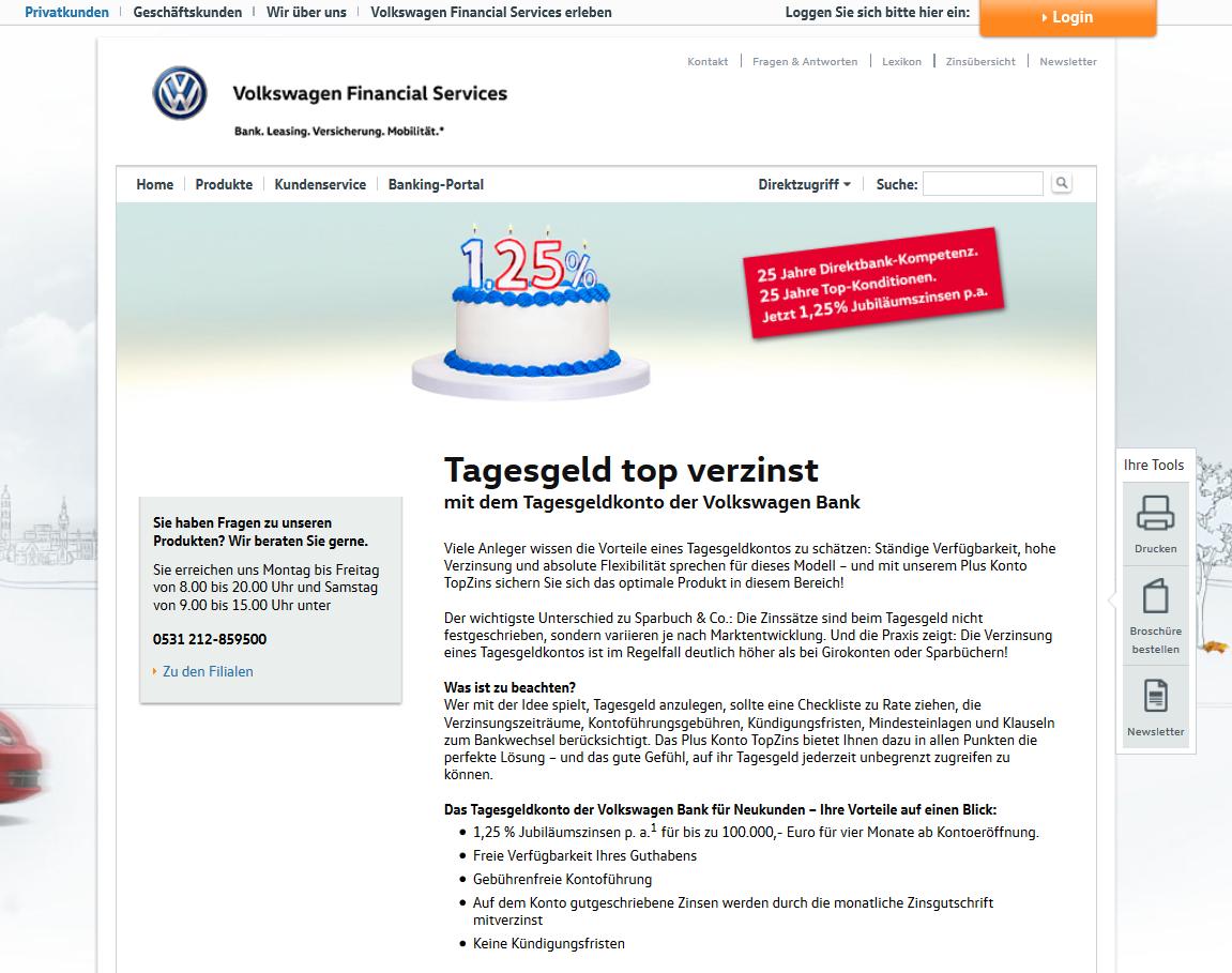 Bis zu 1,25 Prozent Zinsen bei der Volkswagen Bank