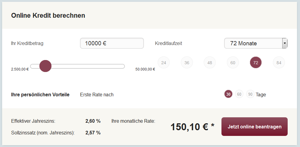 So sieht der Rechner bei onlinekredit.de aus