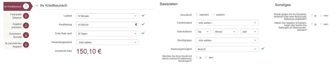 Kreditantrag bei onlinekredit.de