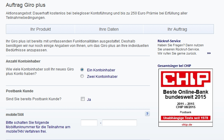 Postbank Girokonto online beantragen