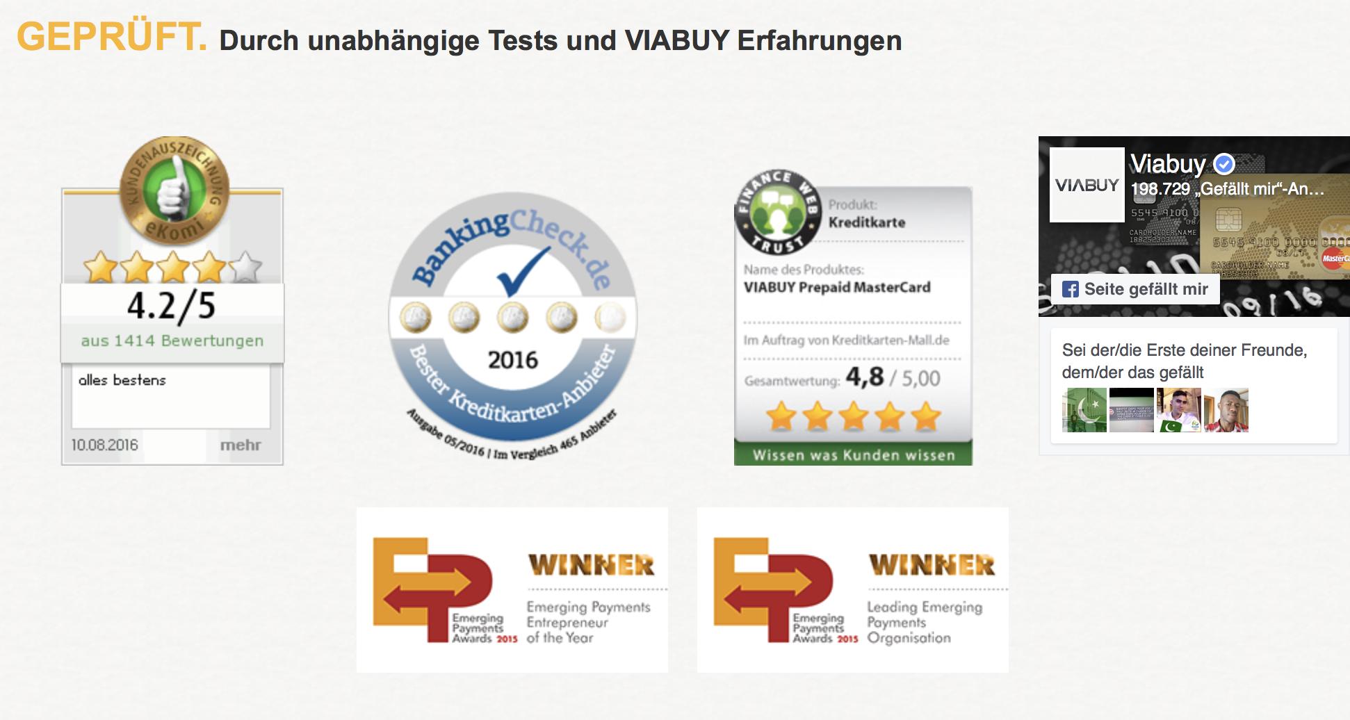VIABUY: Positive Testergebnisse und Meinungen unterstreichen die Seriosität.