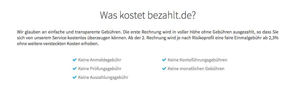 Transparente Gebühren bei bezahlt.de