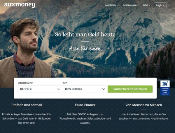 auxmoney - so leiht man Geld heute