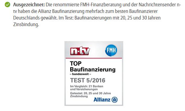 Allianz Baufinanzierung Auszeichnung