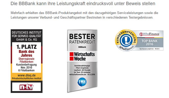 BBBank Auszeichnungen