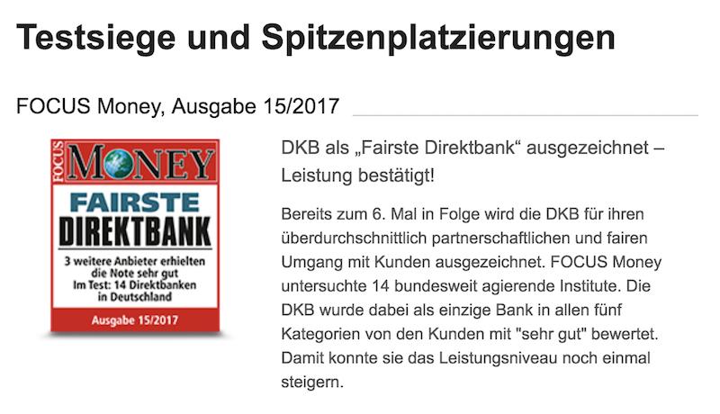 DKB Auszeichnungen