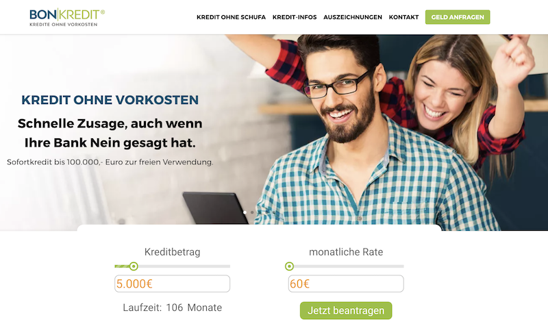 Bon-Kredit Webseite