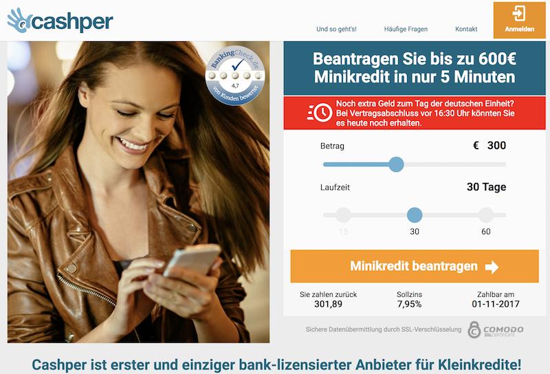 Der Cashper Minikredit ist binnen weniger Minuten beantragt