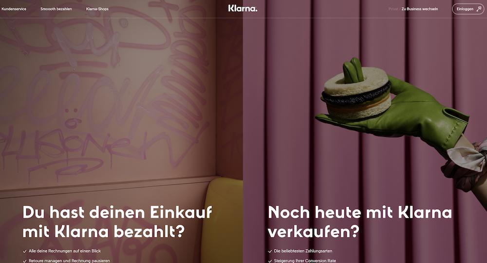 Klarna Homepage