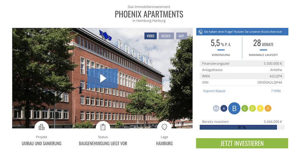 Eine Risikobewertung und ein Video über das Immobilien-Projekt befinden sich auf der Exporo Webseite
