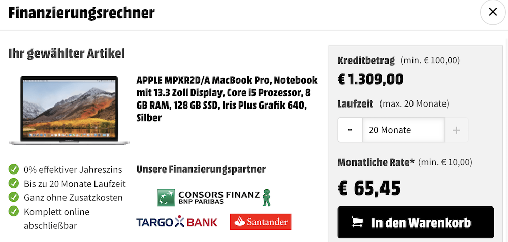 MacBook Media Markt Finanzierung