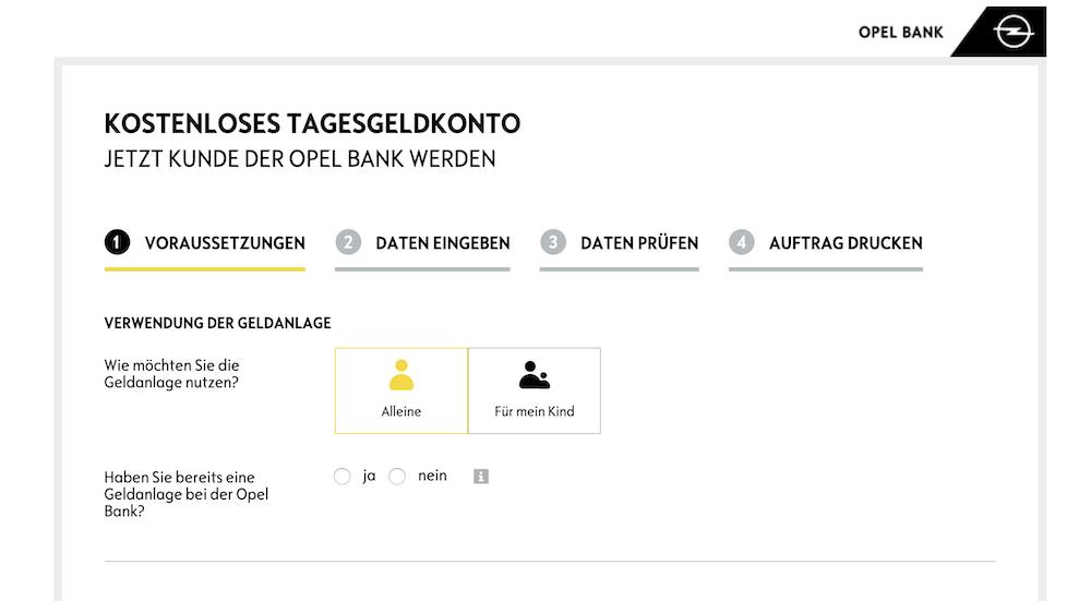 Opel Bank Tagesgeldkonto eröffnen